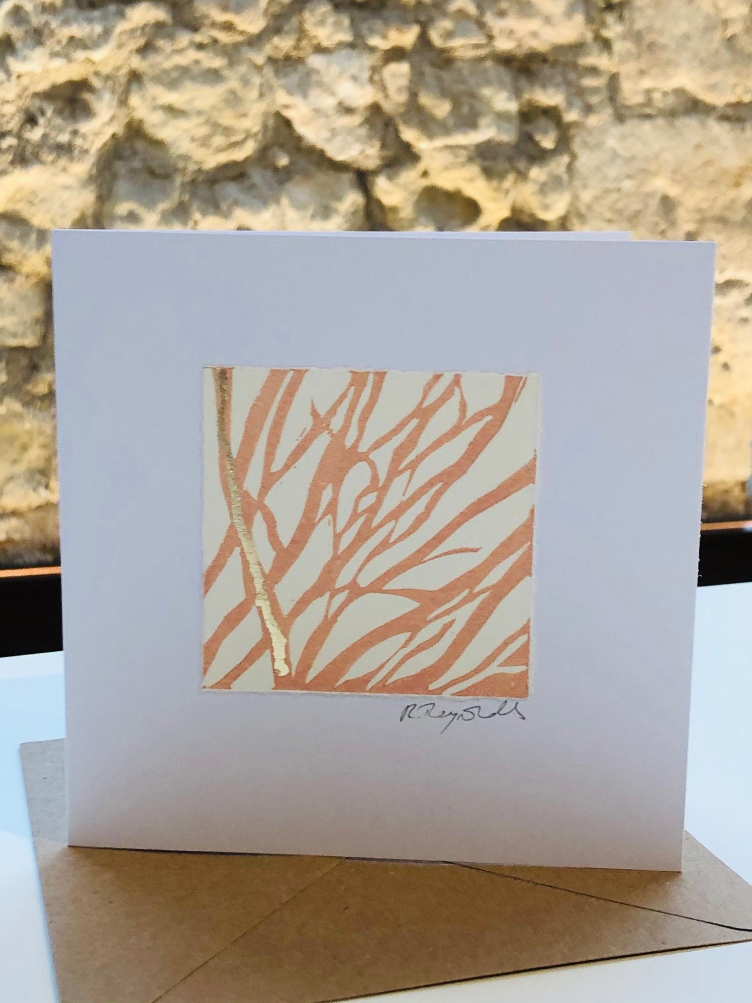 Handprinted Lino Cut Greetings Card by Rachel Reynolds