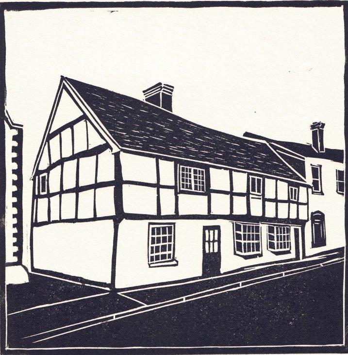 Romsey Houses Linocut Print by Carole Westbrook