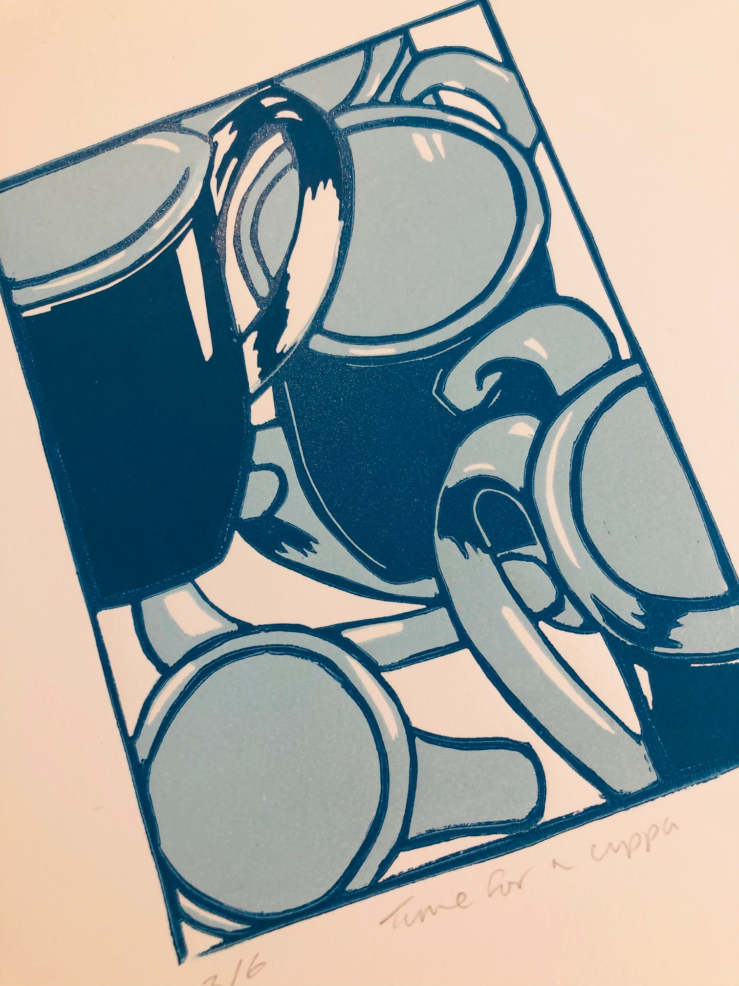 'Time for a Cuppa' Limited Edition Reduction Lino Print by Mandy Smith