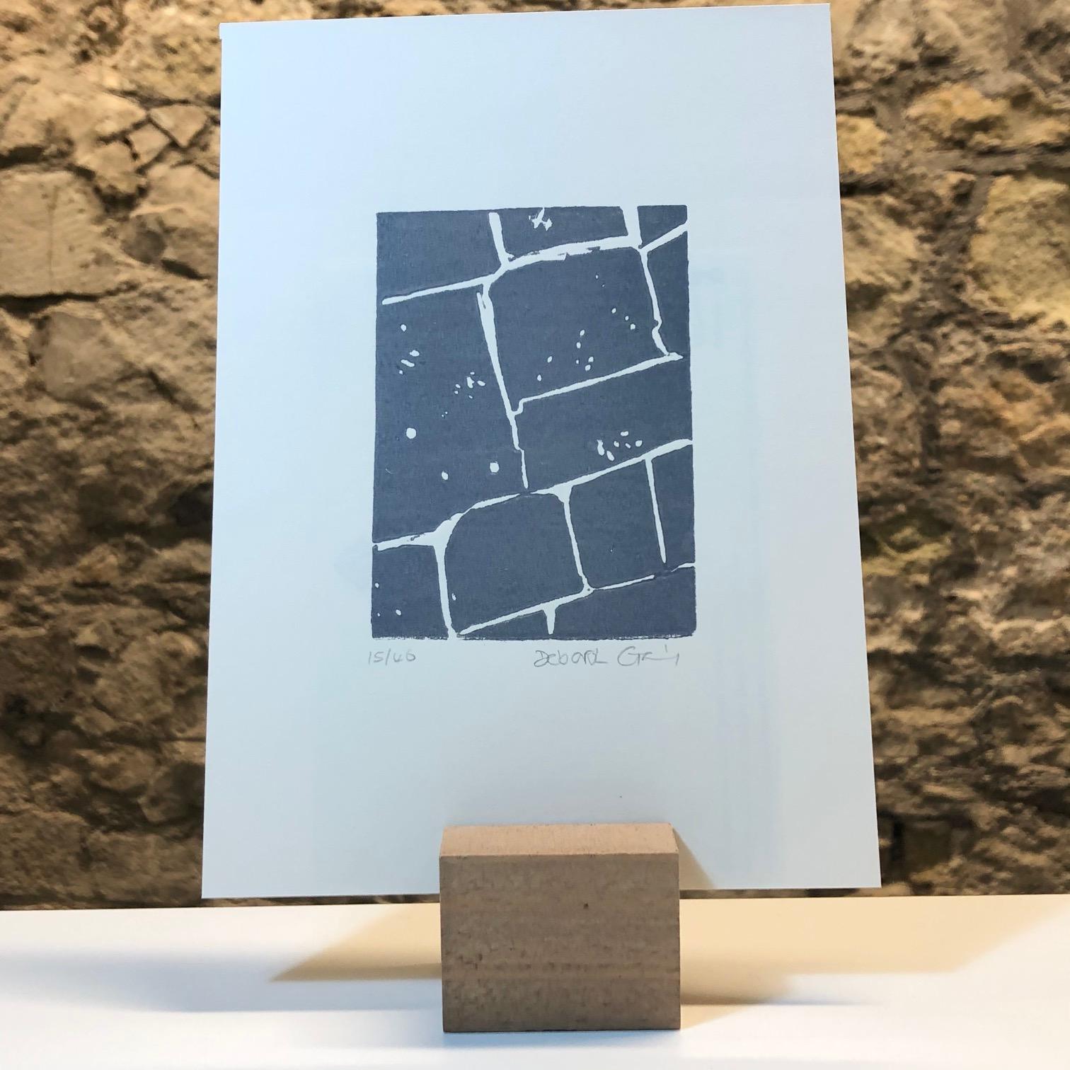 'Flagstones 2' Linocut Mini Print by Deborah Gearing