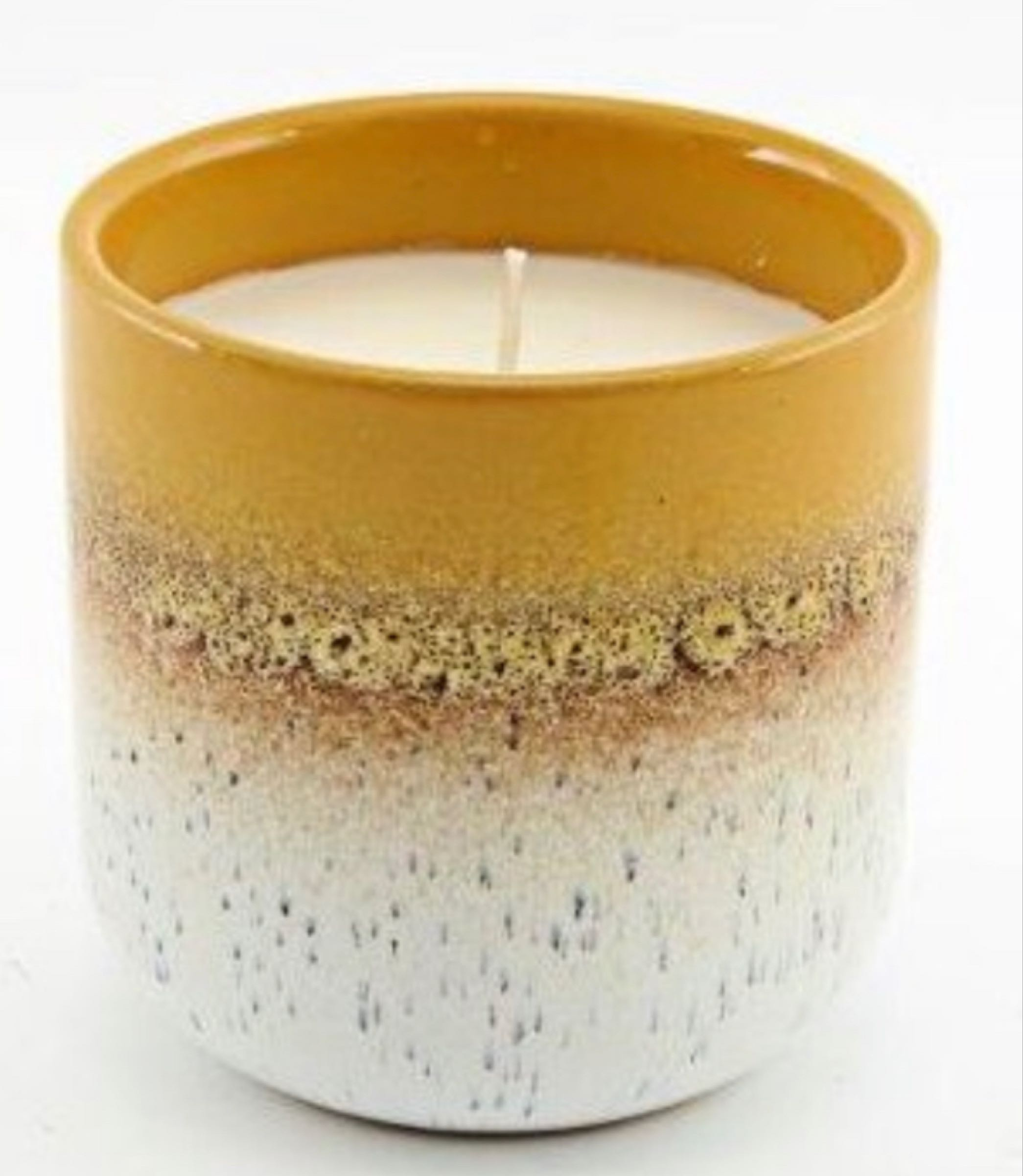 Two tone mustard candle pot 9cm