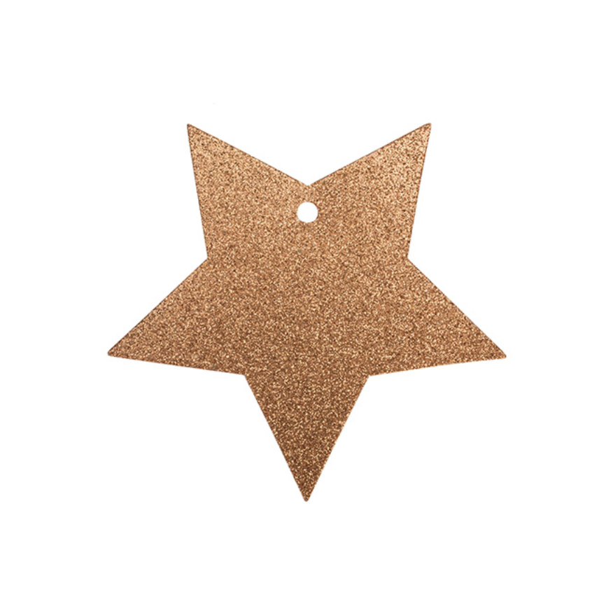 TO & FROM TAG GLITTER COPPER STAR
