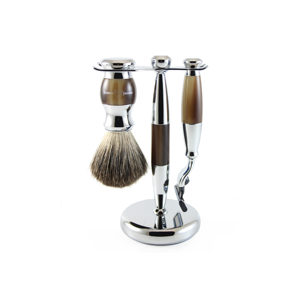 3PC SHAVING SET IMITATION HORN & CHROME