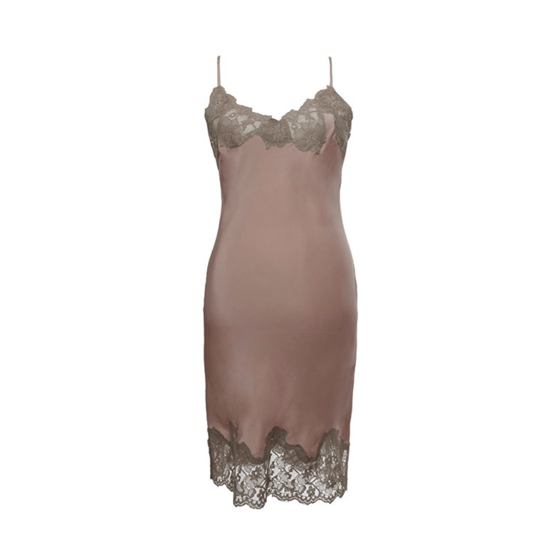MARILYN LACE SILK SLIP DRESS ROSE TAUPE/WARM GREY