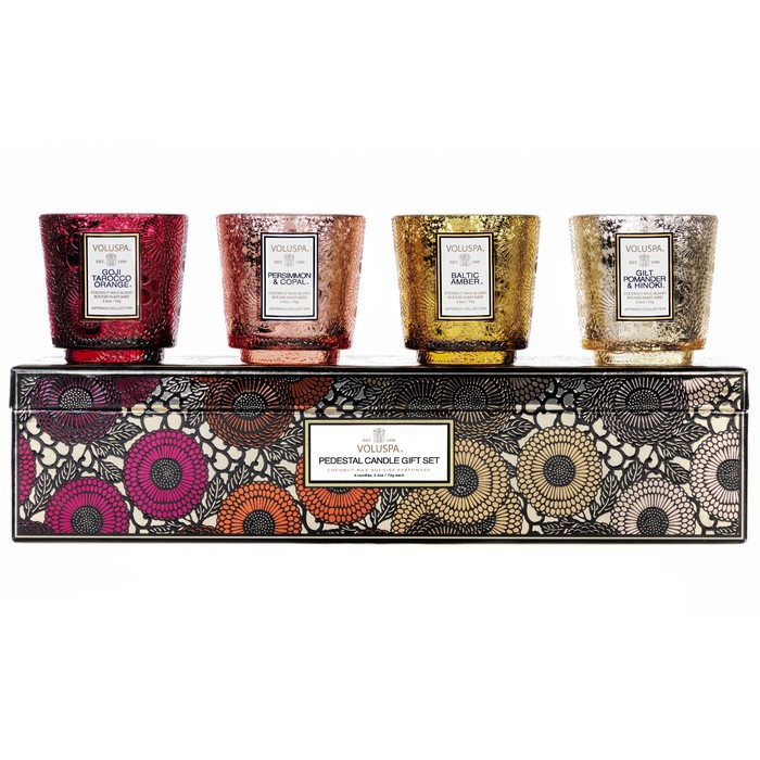 GIFT SET PEDESTAL 4 CANDLE - WARM TONES