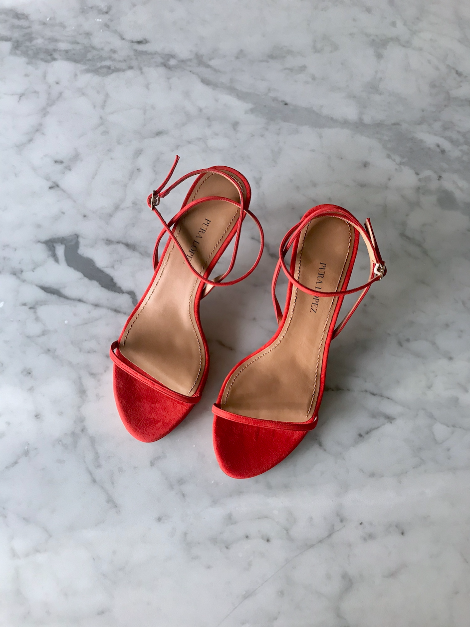 SANDALS IN RED SUEDE