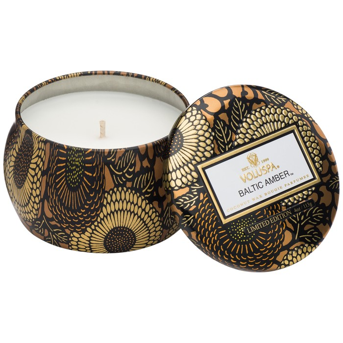 BALTIC AMBER PETITE DECORATIVE TIN CANDLE