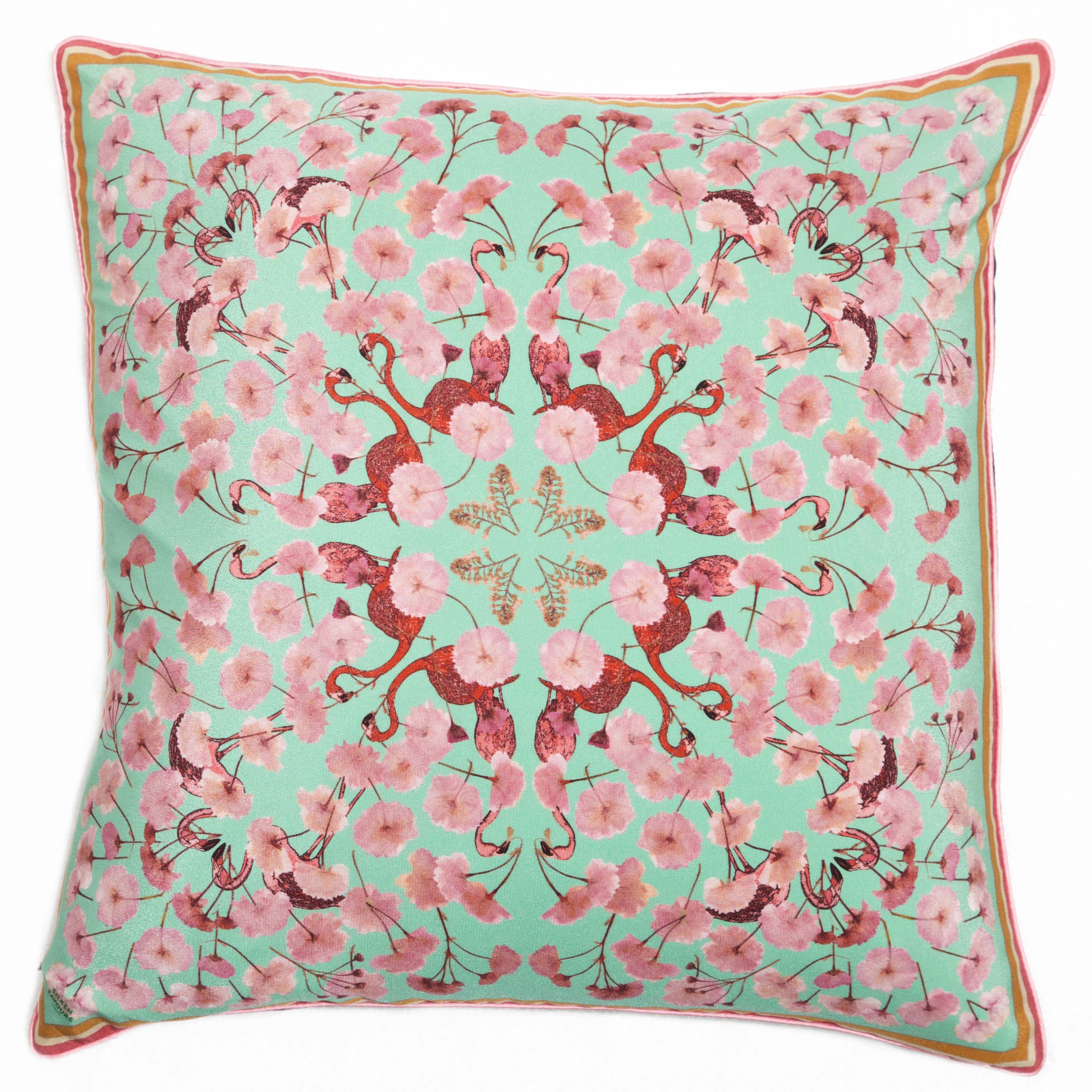 FLORAL FLAMINGO MINT SILK CUSHION