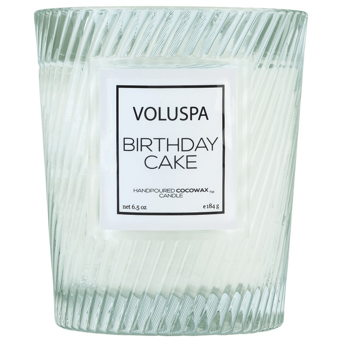 BIRTHDAY CAKE CLASSIC TEXTURED GLASS CANDLE