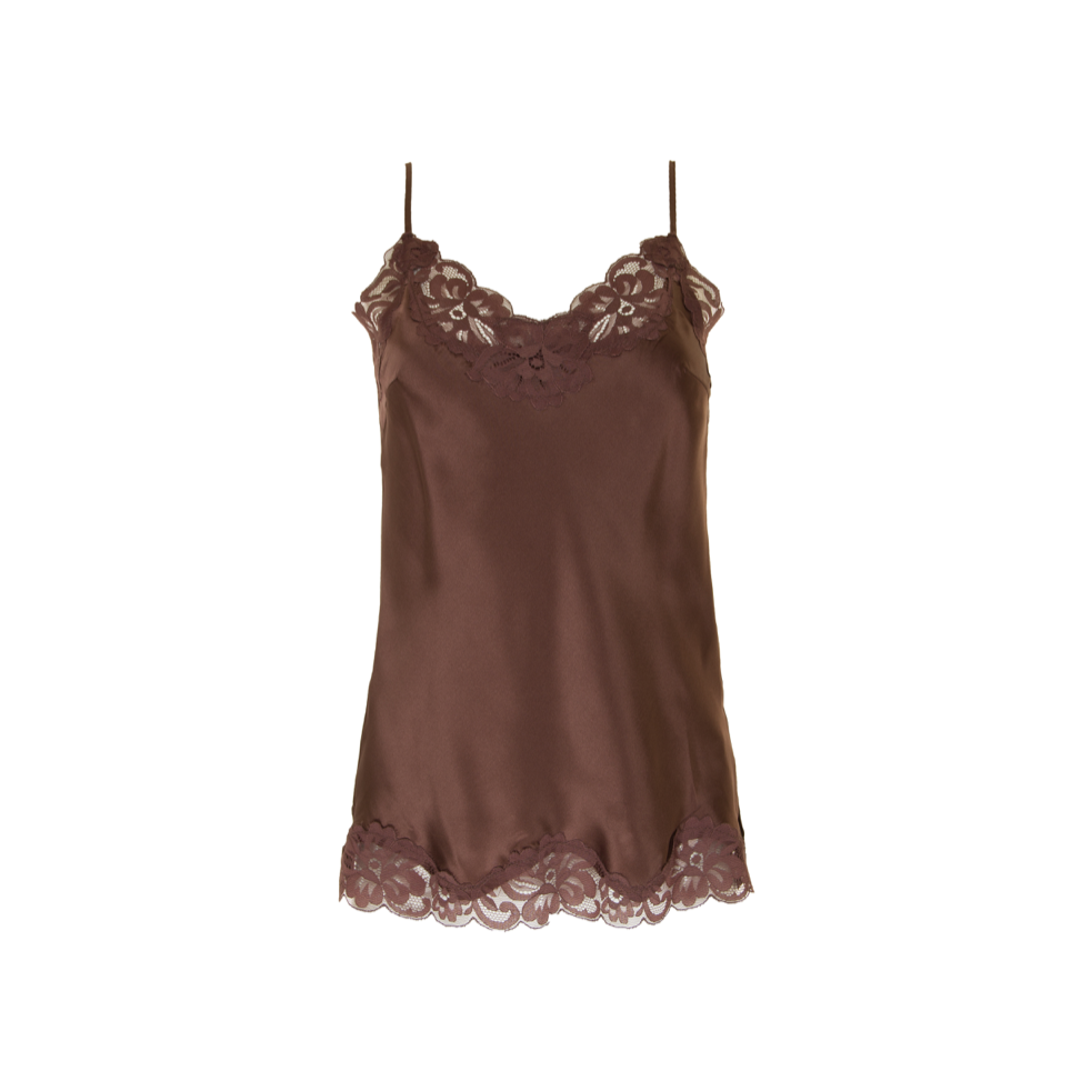 FLORAL LACE CAMI CHOCOLATE
