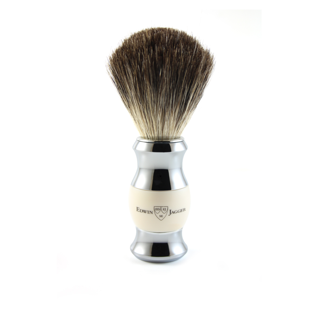 SHAVING BRUSH IMITATION IVORY & CHROME