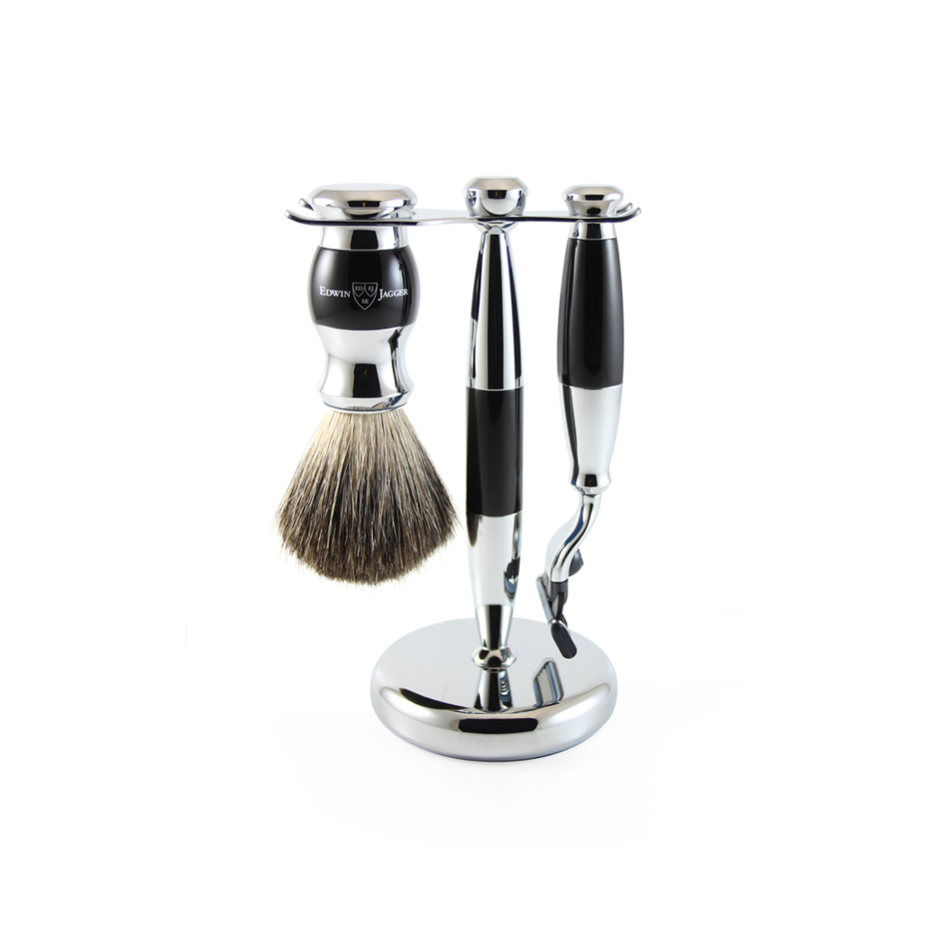 3PC SHAVING SET BLACK & CHROME
