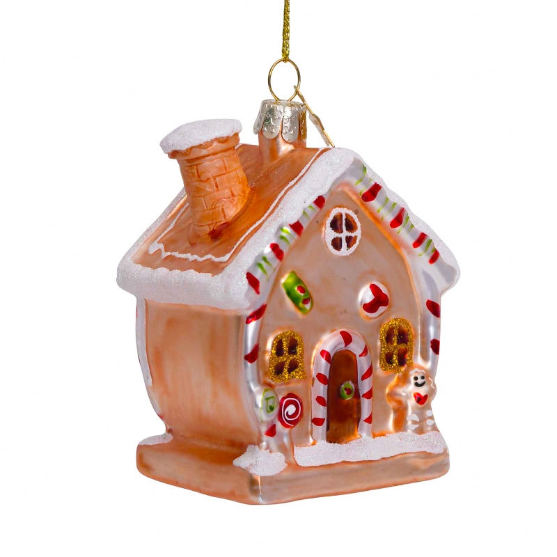 ORNAMENT GLASS GINGERBREAD HOUSE H9.5CM