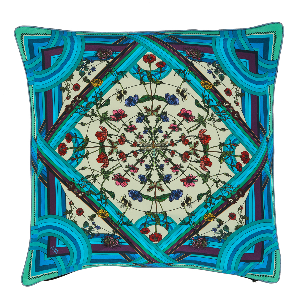 FREAKY FLORAL SILK CUSHION IN BLUE