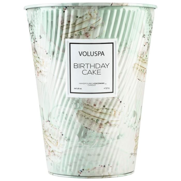 BIRTHDAY CAKE 2 WICK TIN TABLE CANDLE