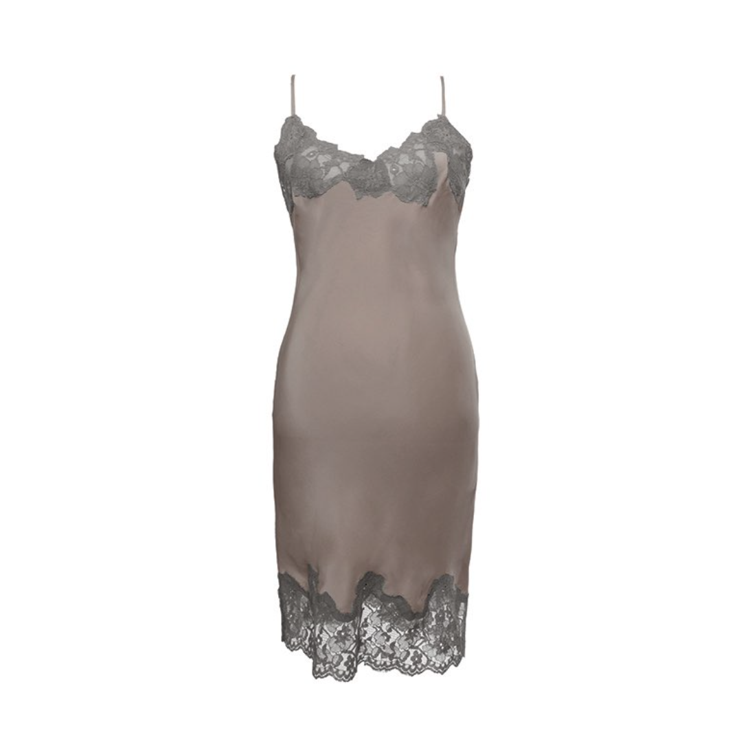 MARILYN LACE SILK SLIP DRESS WARM GREY/STEEPLE GREY
