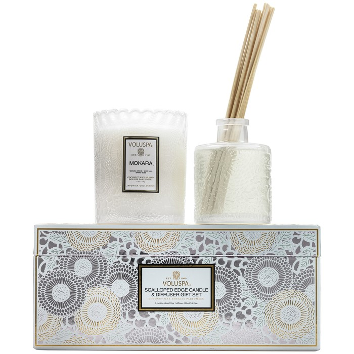 SCALLOPED EDGE CANDLE & DIFFUSER GIFT SET - MOKARA