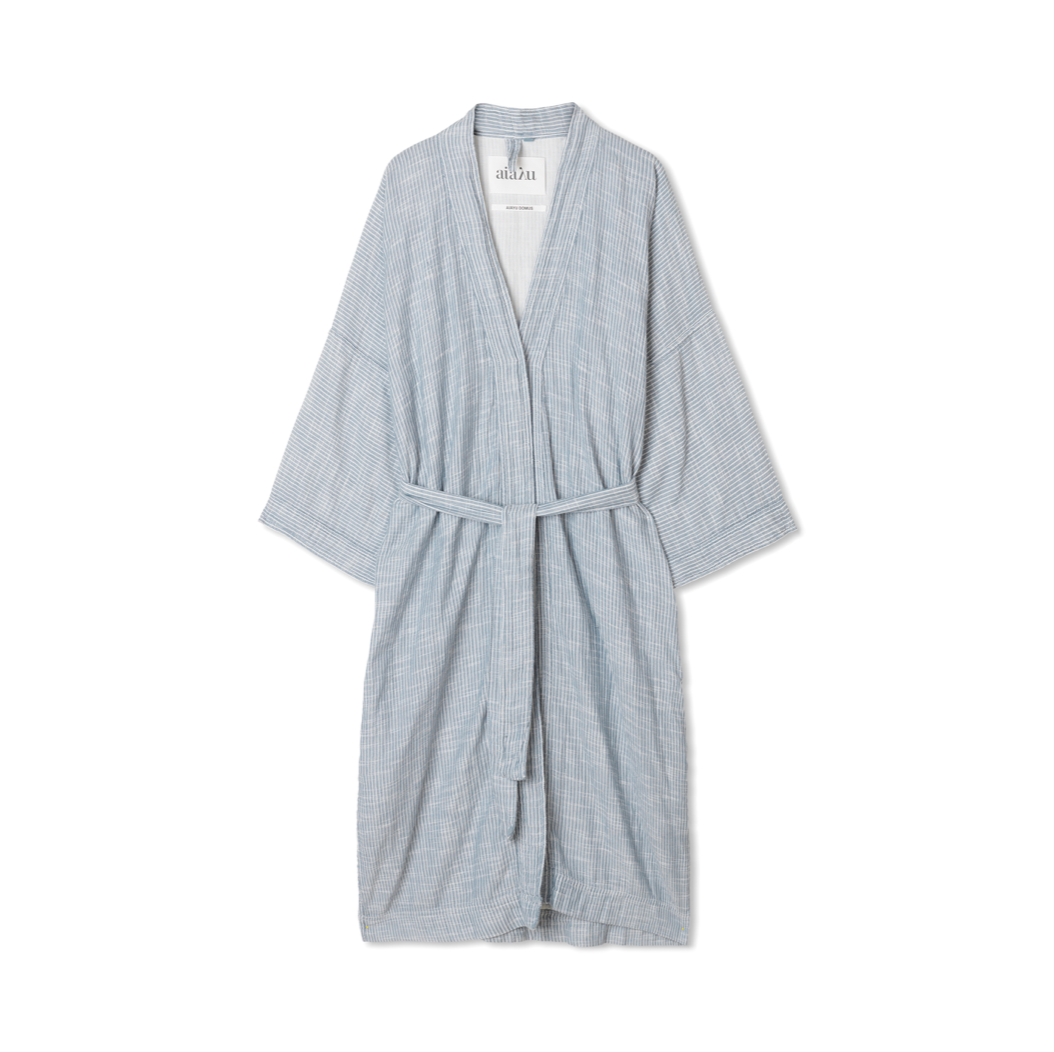 BATHROBE STRIPED INDIGO