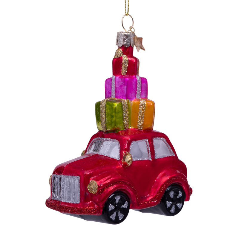 ORNAMENT GLASS RED CAR W/PRESENTS ON TOP H11.5cm
