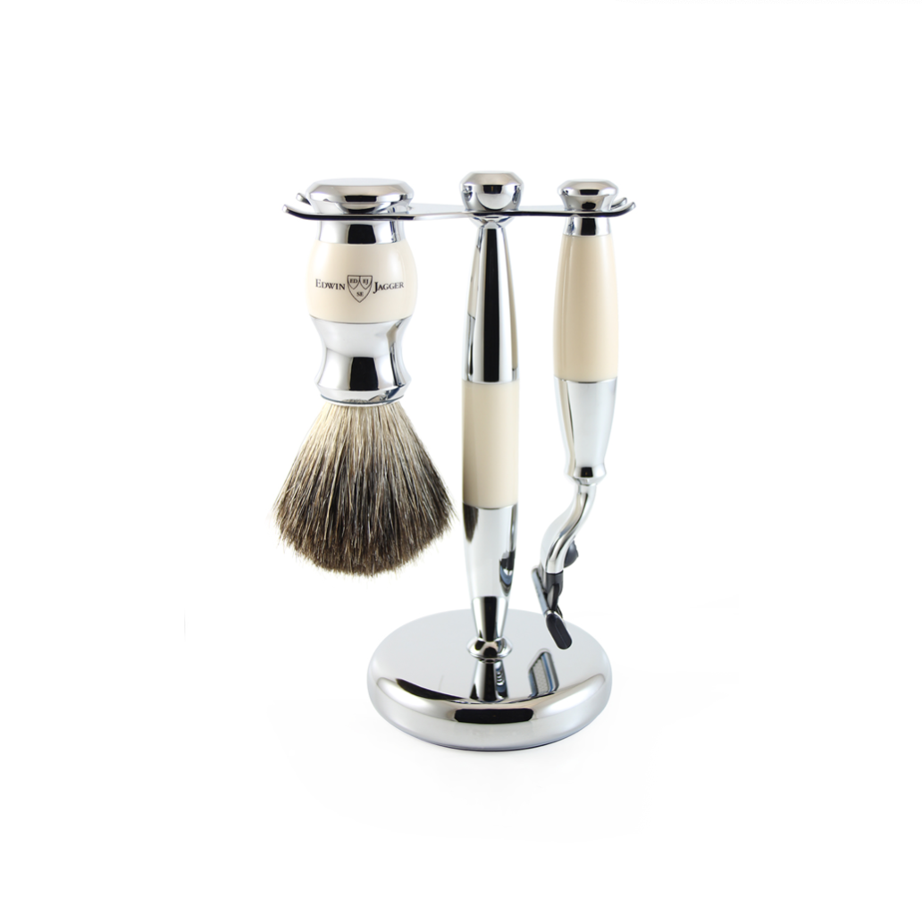 3PC SHAVING SET IMITATION IVORY & CHROME