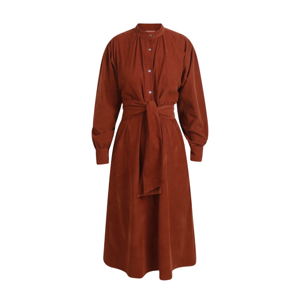 SILVIAL DRESS RUST MINI CORDUROY