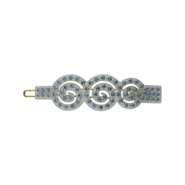 HAIR CLIP SPIRAL ICE BLUE WITH LIGHT SAPPHIRE STONES
