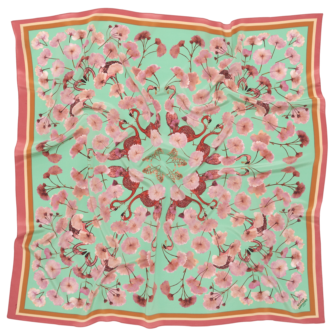 FLORAL FLAMINGO MINT SILK SCARF