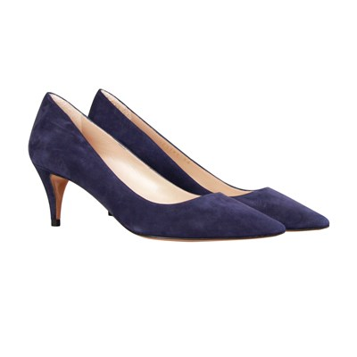 MID HEEL PUMPS IN NAVY SUEDE