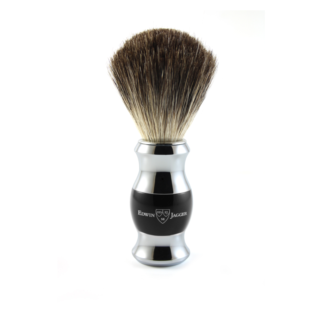 SHAVING BRUSH BLACK & CHROME