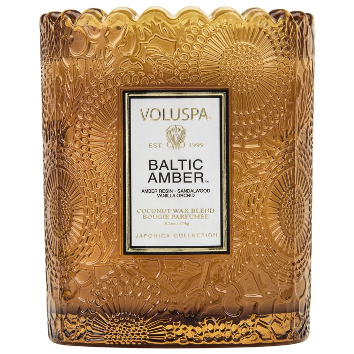 BALTIC AMBER SCALLOPED EDGE EMBOSSED GLASS CANDLE