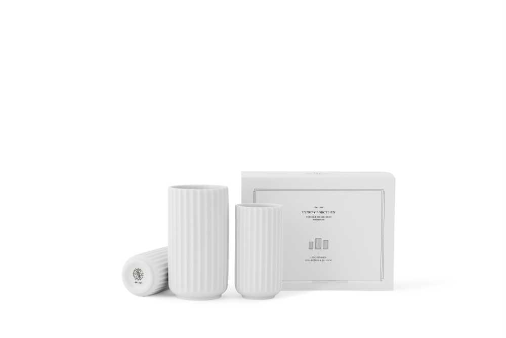 LYNGBY VASE COLLECTION WHITE 8+10+12 CM