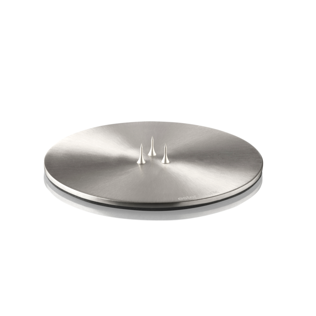 CANDLE PLATE BRUSHED SILVER