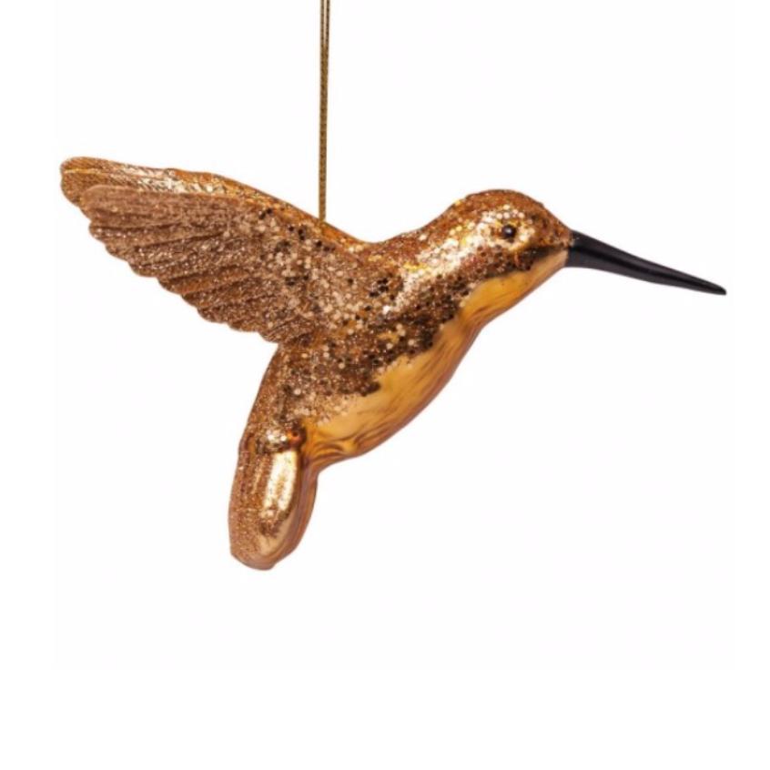 ORNAMENT GOLD HUMMINGBIRD 8CM