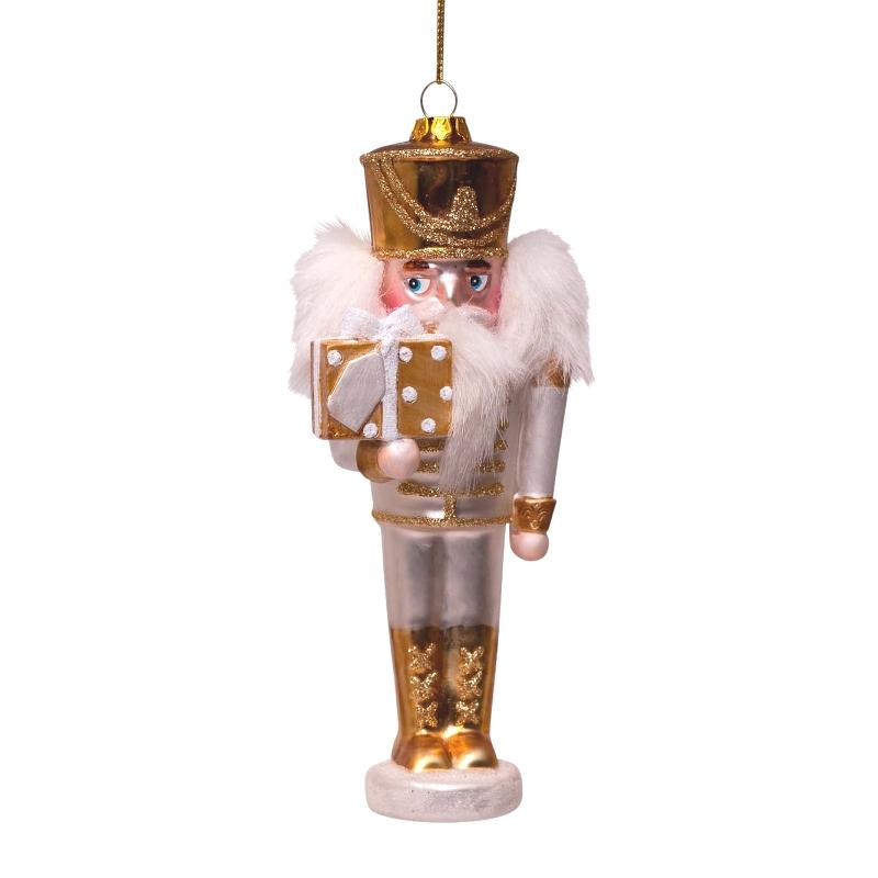 ORNAMENT GLASS GOLD NUTCRACKER H16 CM