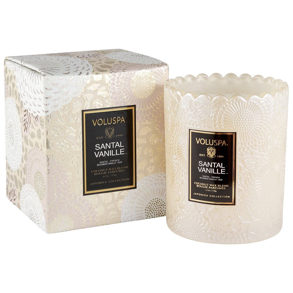 SANTAL VANILLE SCALLOPED EDGE CANDLE