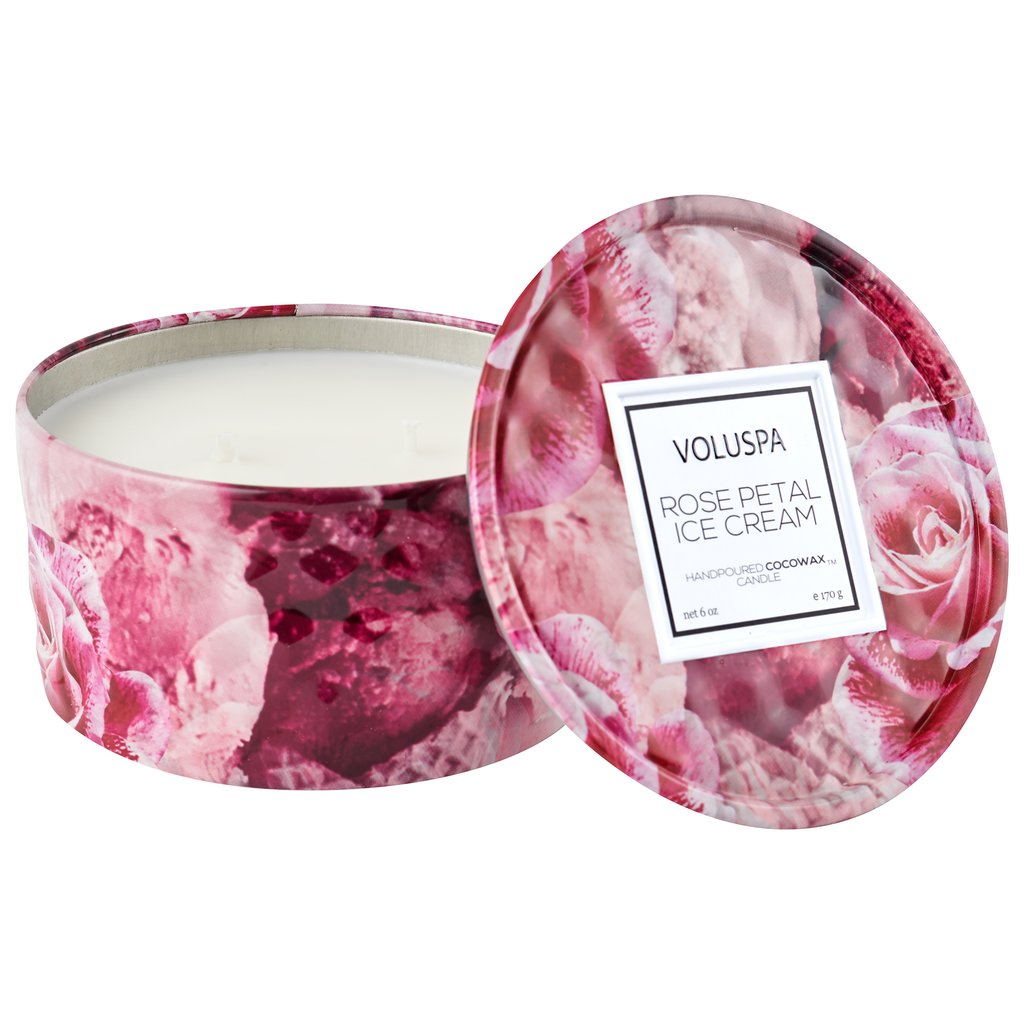 ROSE PETAL ICE CREAM 2 WICK TIN CANDLE