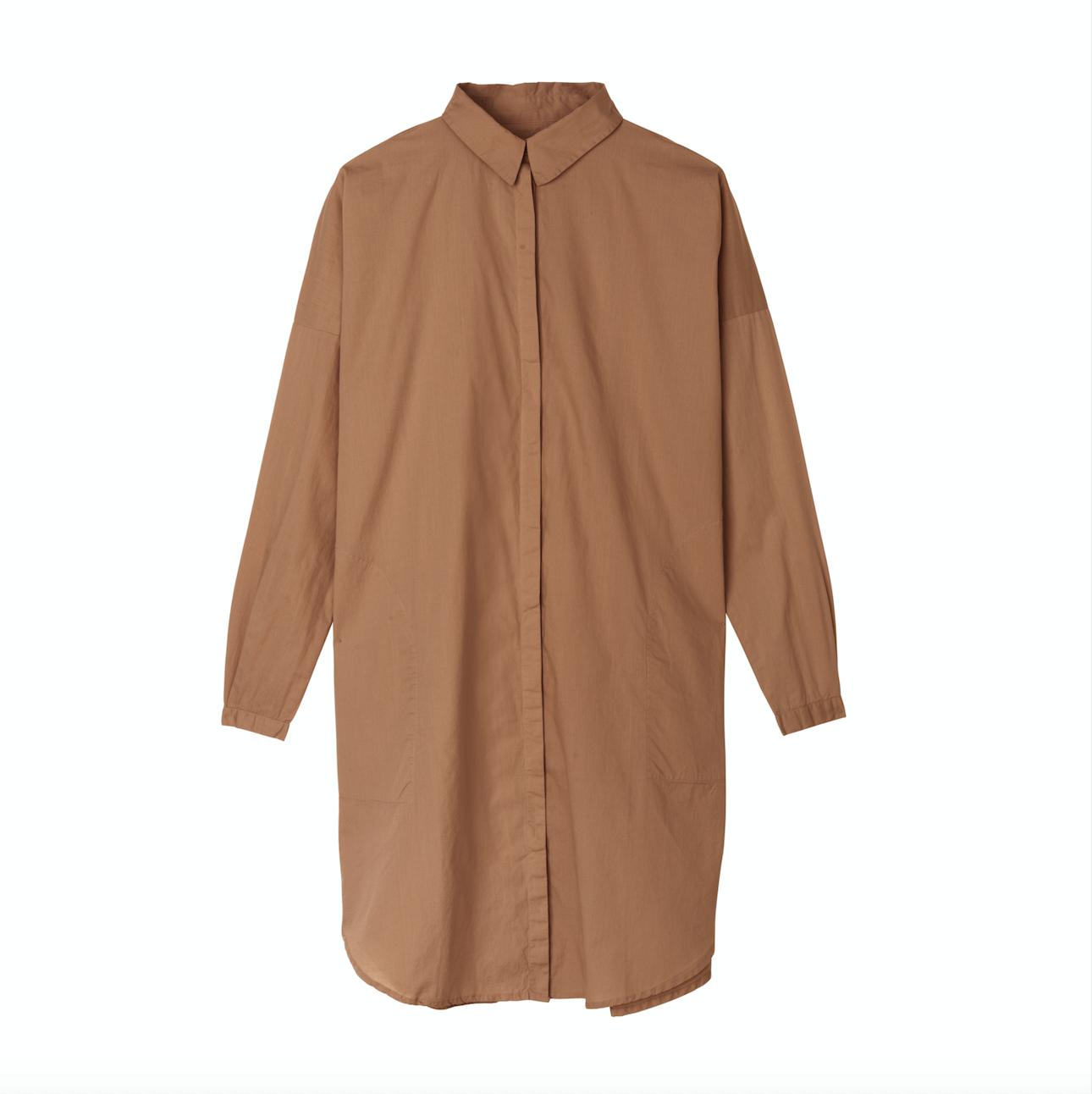 SHIRT DRESS TABACCO