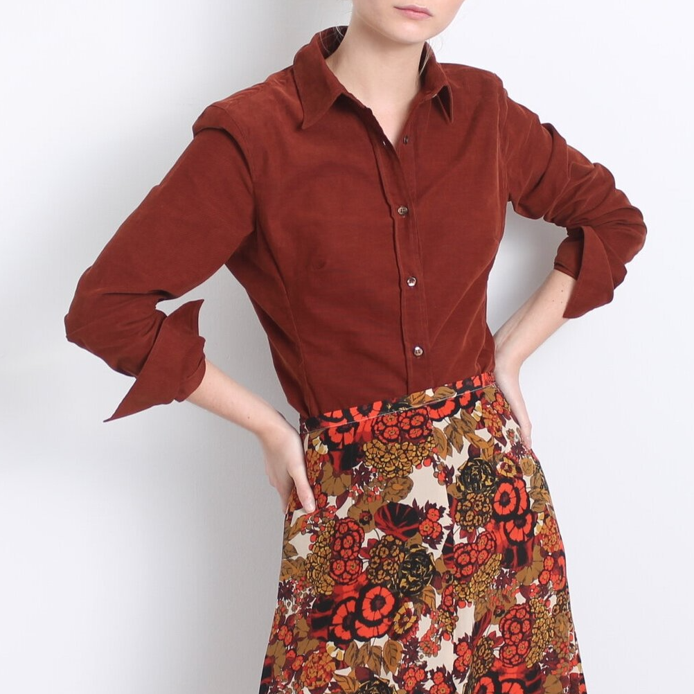 SONIA SHIRT RUST MINI CORDUROY