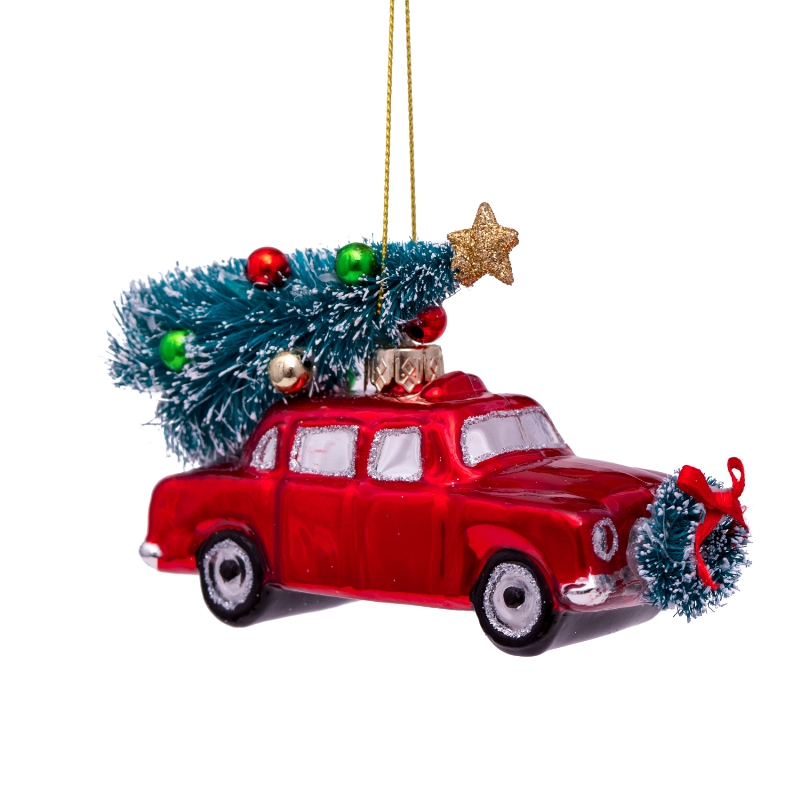 ORNAMENT GLASS RED CAR W/CHRISTMAS TREE H5.5CM