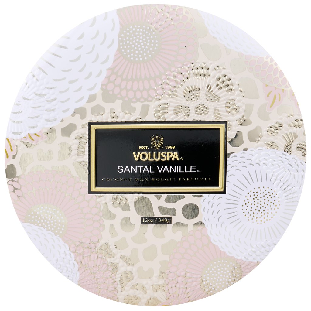 SANTAL VANILLE 3 WICK TIN CANDLE
