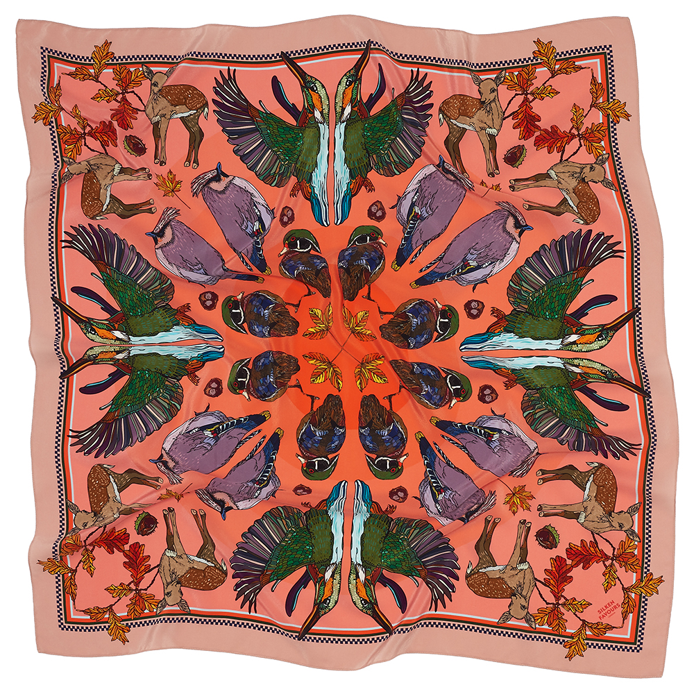 AUTUMN CORAL SILK SCARF