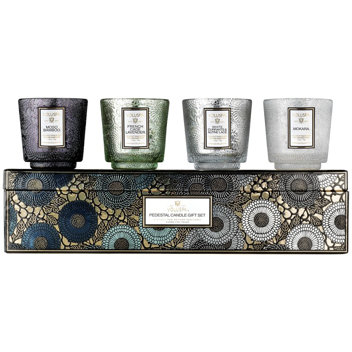GIFT SET PEDESTAL 4 CANDLE - COOL TONES