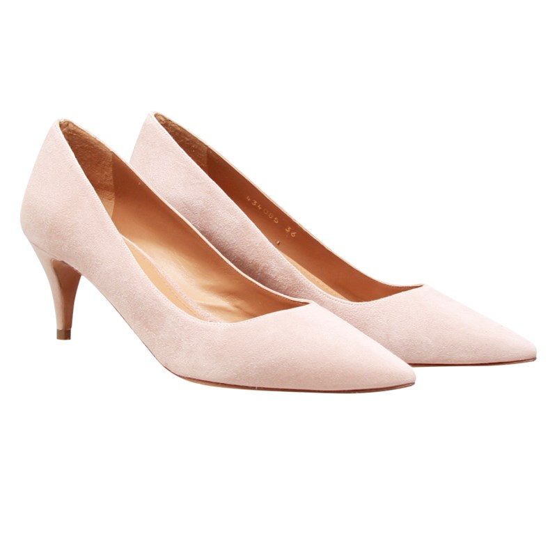 MID HEEL PUMPS IN NUDE SUEDE