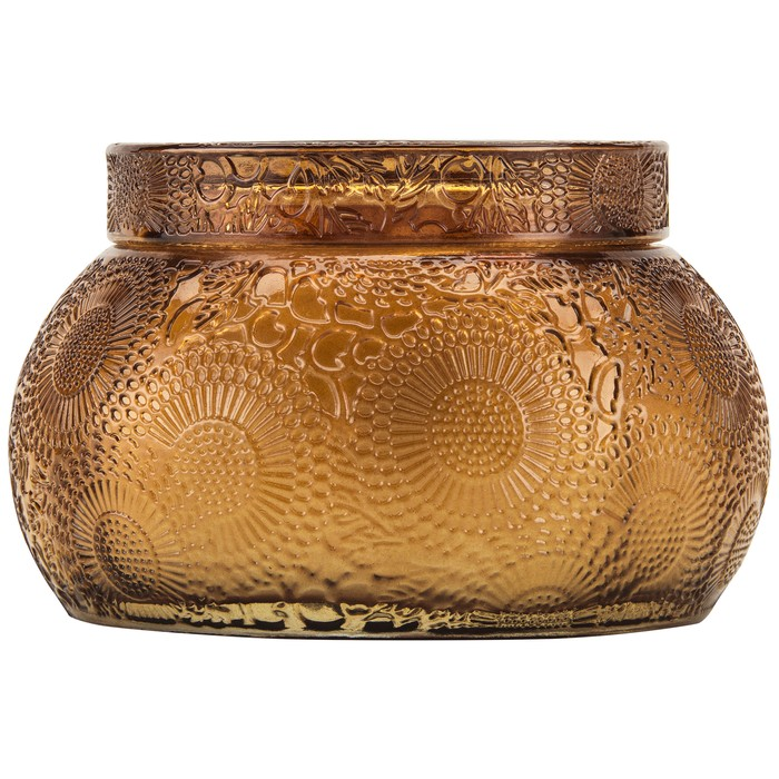 BALTIC AMBER CHAWAN BOWL 2 WICK EMBOSSED GLASS CANDLE