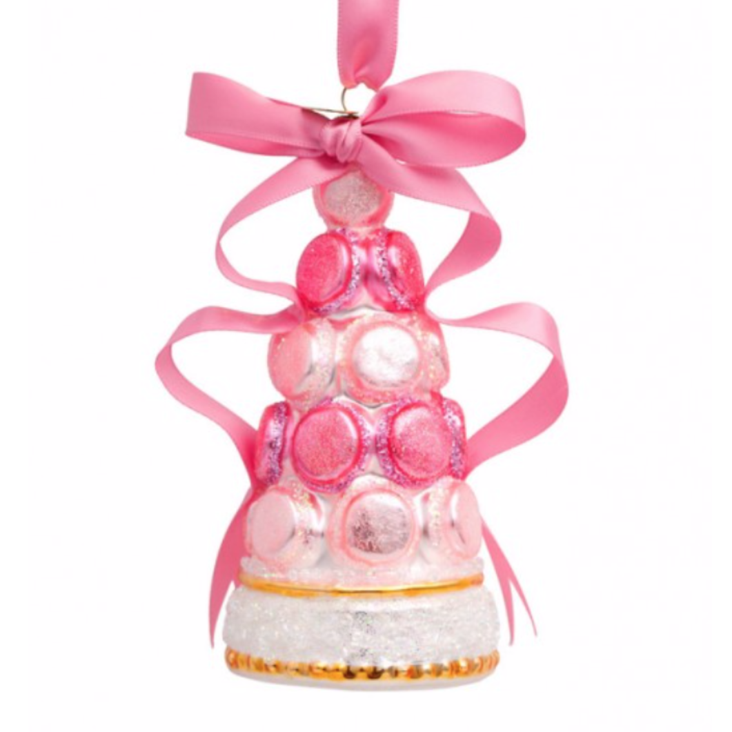 ORNAMENT GLASS PINK MACARON TOWER W/BOW 12 CM