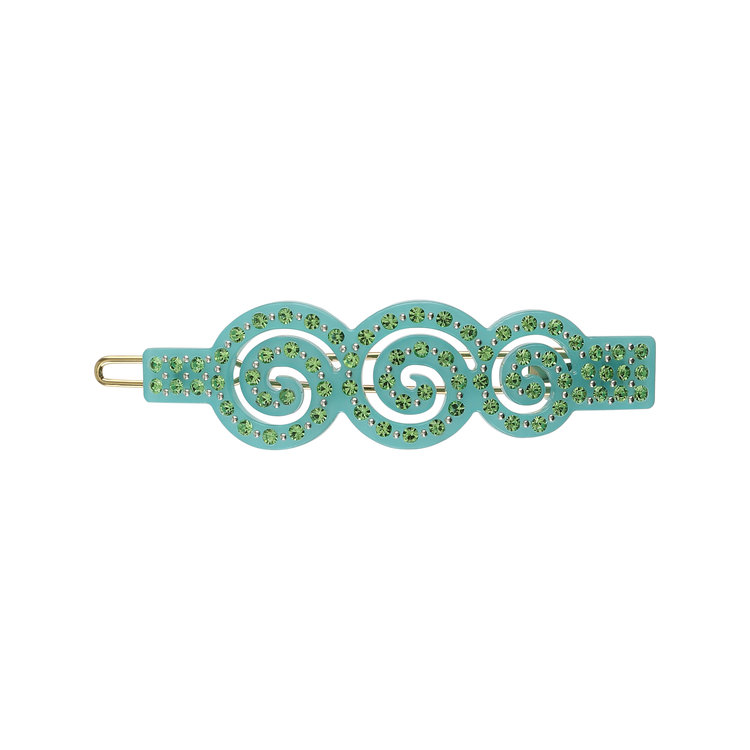 HAIR CLIP SPIRAL TURQUISE WITH LIGHT GREEN STONES