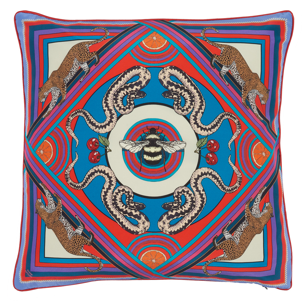 TRIPPY TOWN SILK CUSHION IN BLUE