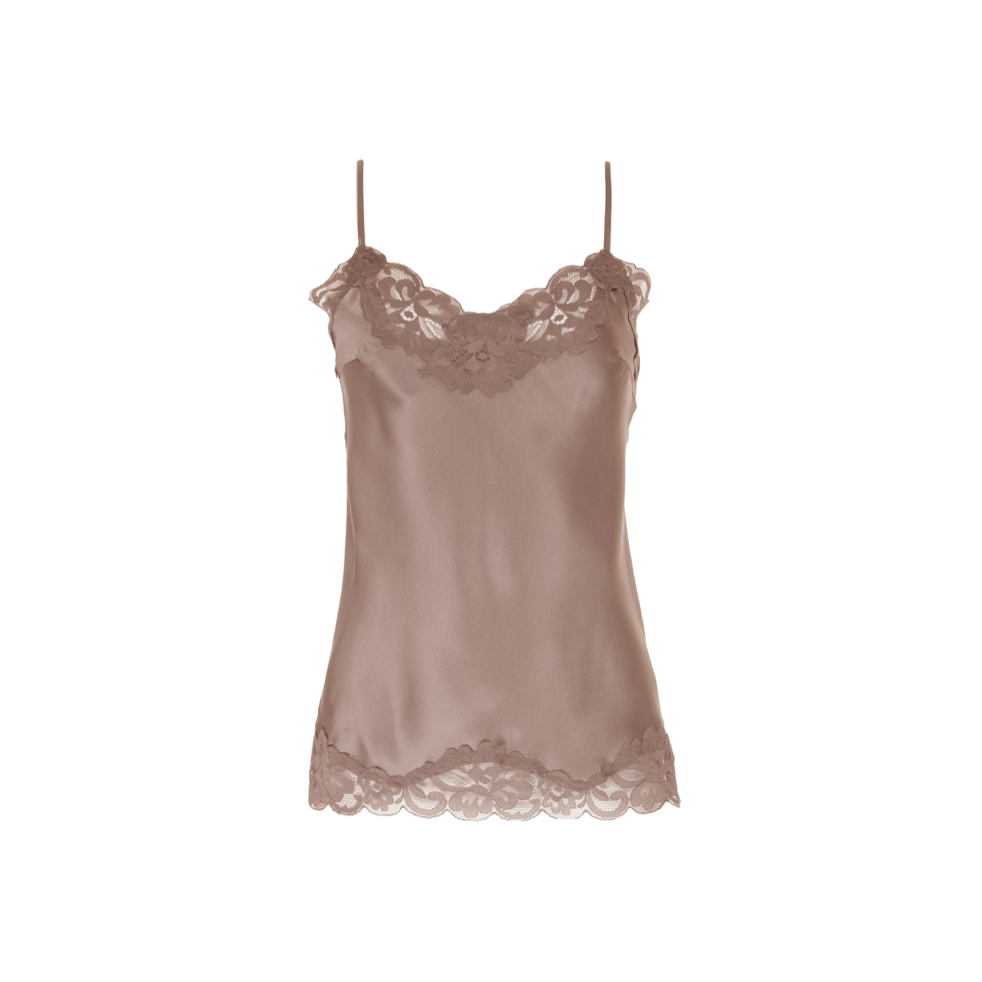 FLORAL LACE CAMI ROSE TAUPE