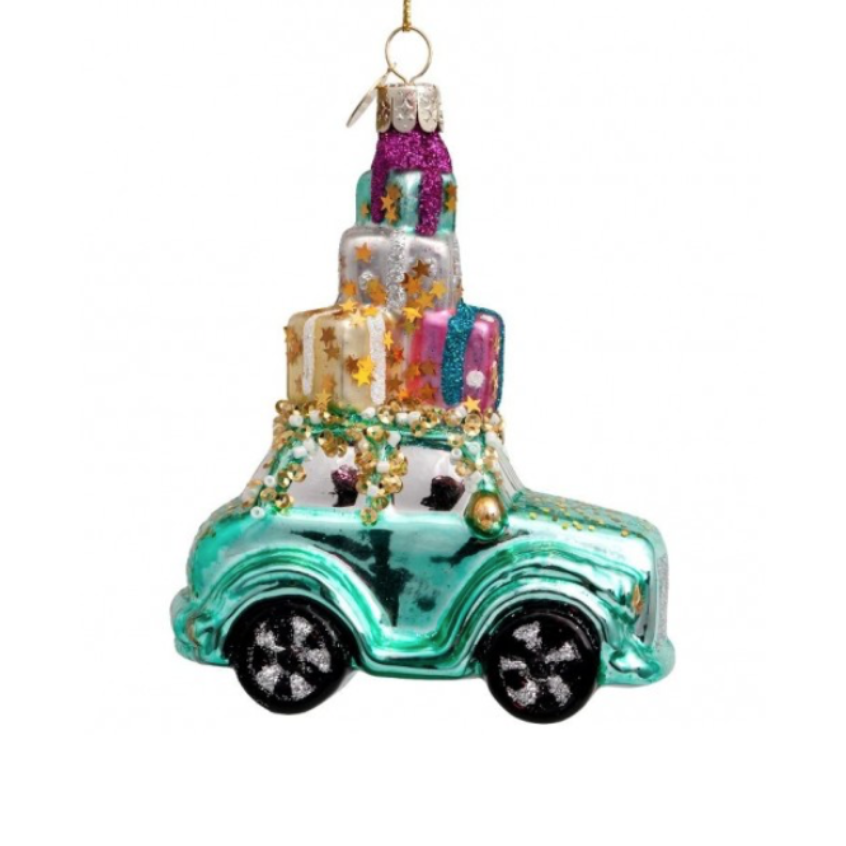 ORNAMENT CAR W/GIFTS ON TOP 12 CM