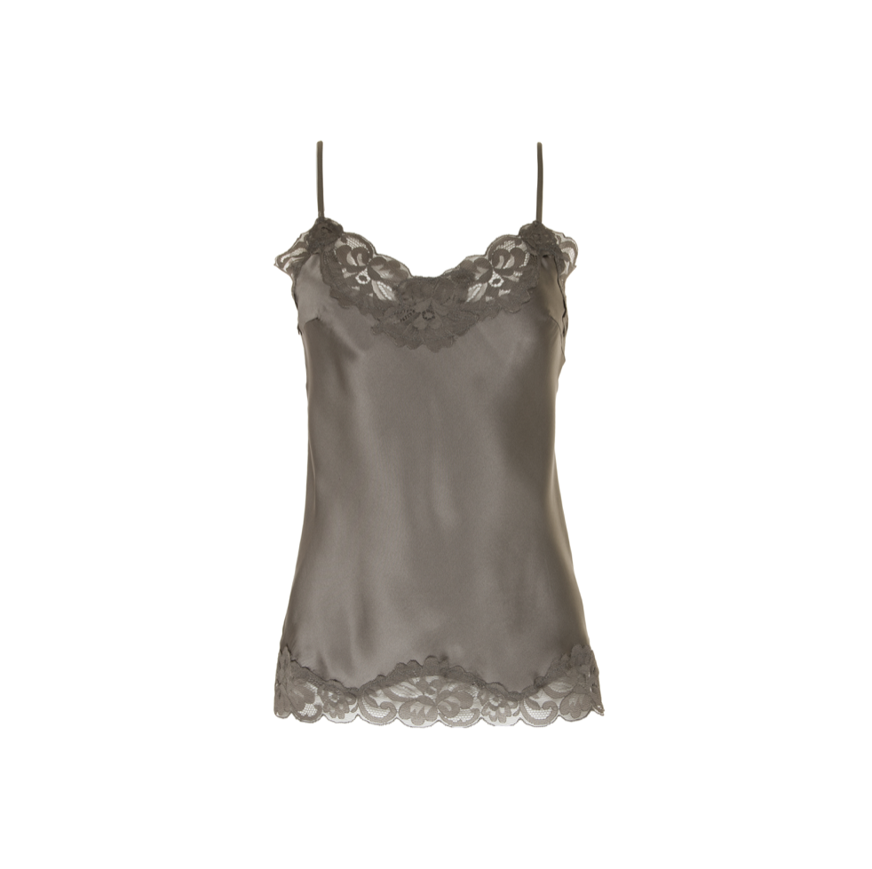 FLORAL LACE CAMI WARM GREY